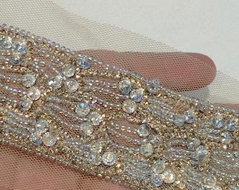 1 yard Rhinestone trim,Applique trim,Bridal Applique,DIY Weddings, Trim, Rhinestone applique, Crystal sash, Bridal sash hand made #81058/HBT