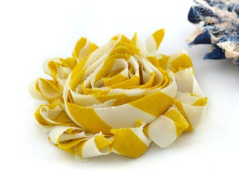 Fabric mustard yellow and ecru striped 6cm, sew or paste flower