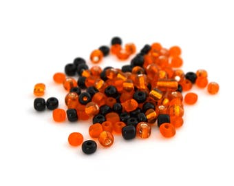 Large seed beads 6/0 black orange Halloween glass 4mm, 10 grams (approximately 110 beads)