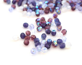 50 beads Oval 4mm blue faceted Bohemian glass