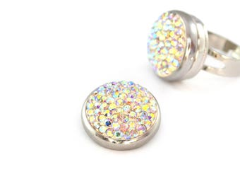 Cabochon white rhinestone 20 mm snap