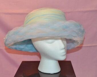 Vintage Eric Javits Baby Blue Tulle hat