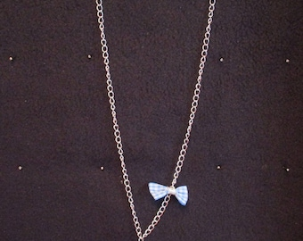 Blue Teddy bear girl necklace, bow and silver chain, toggle clasp