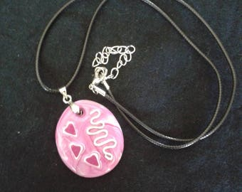 Necklace and pink Oval Pendant - and so forth and so
