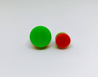 Retro Green and Orange perspex stud earrings made by The House of Doris uk surgical steel posts and backs.