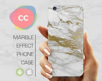 White Gold Marble - iPhone 8 Case - iPhone 7 Case - iPhone X, iPhone 8 Plus, 7, 6, 6S, 5S, SE Cases - Samsung S8, S7, S6 Cases - PC-340