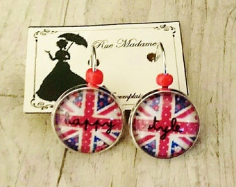 Round earrings on posts - English and liberty flag - style silver - model happy