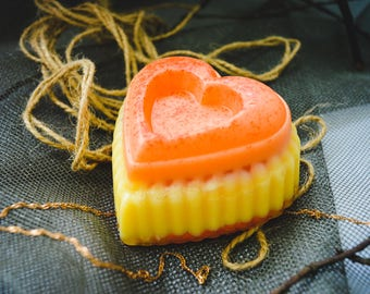 Orange Heart soap. Soap enriched with orange oil. Citrus soap Mandarin and orange soap. Homemade soap. Mellow yellow. Natural orange oil