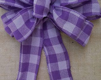 Purple Plaid Burlap Bow