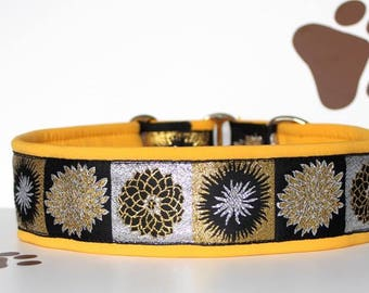 """NEW!Dog collar """"Sunny Moon"""" Jacquard ribbon in a yellow frame to its the most elegant extravagant design"""