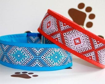 Dog collar Jacquard ribbon in unique colourful style for Pet Jewellery and accessories