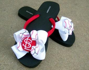 Saint Louis Stl Cardinals Baseball Sports Team Bow Flip Flops for Women Teen Tween Girl Child