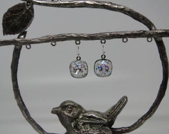 """Earrings in 925 sterling silver and Swarovski Crystal """"white patina"""""""