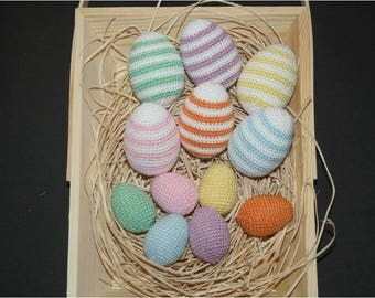 Egg is hand crocheted in a set of 12