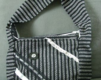 black and white handle bag large