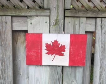 Rustic Barnboard Canadian Flag
