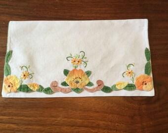 Vintage handmade appliqued lingerie or stocking bag.