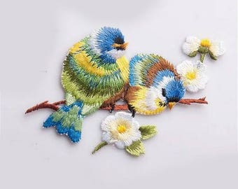 birds, fusible fabric appliques iron-on or sew badges