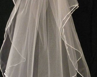 Wedding Veil with Blusher, 2-tiered in Fine Tulle with Pencil Edging