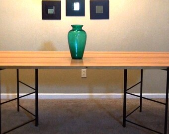Mid Century Modern Dining Table converts to Bookcase, Shelf or Media Center, wood & solid steel