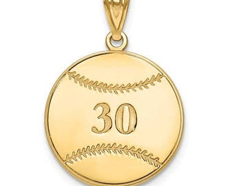 "Personalized Gold Plated over Sterling Silver Free Name And Number Laser-Engraved Baseball Pendant Charm 1"" x 1"" Free 16,18, or 20"""