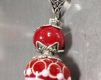 """""""The nun"""" glass pendant red and white fish scales. Lampwork Glass Beads"""