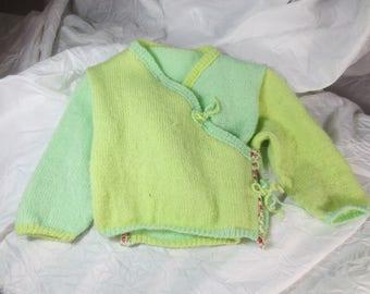 Baby Cardigan green Wool Cardigan