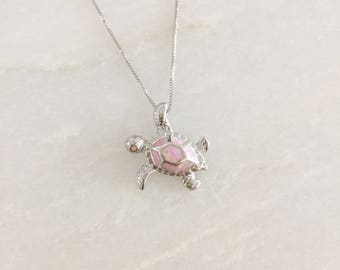 Sterling Silver Pink Opal Sea Turtle Dainty Necklace
