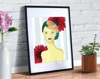 SALE - Printable Art, Flower Girl, Chrysanthemum, Artistic Decor, Illustration with girl and flowers, Joyful Art Print, Art & Collectibles
