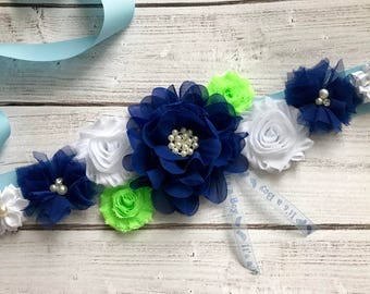 Maternity Sash, Blue Green and White, Baby Shower, Reveal Party, Photo Prop, Gift, Keepsake