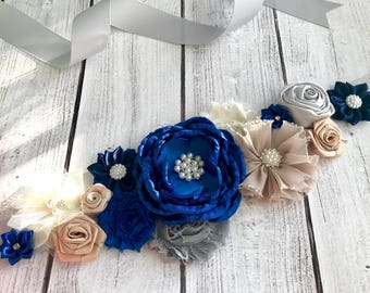 Royal Blue Flower Sash, Maternity, Pregnancy Sash, Flower Girl Flower Belt, Photo Prop, Keepsake, Gender Reveal Party Gift, Baby Boy Shower