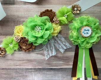 Brown Green Yellow Sash/Maternity/Gender Reveal/Maternity Sash/Pregnancy/Baby Shower/ Keepssake/Gift