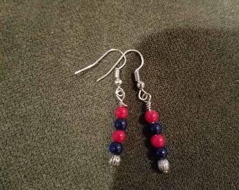 Petite repurposed  red,blue  handwrapped glass earrings