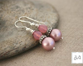 Earrings Pink mother of Pearl, large silver hooks 925, glass beads / Ani