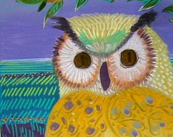 """painting for kids room or baby """"OWL"""""""