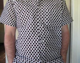 Checkered pattern African men shirt