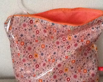 Case in coated cotton beige with small flowers cotton orange lining