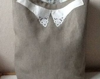 Large bag natural linen lining cotton flowers collar old application