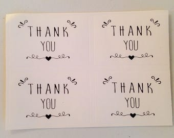 Set of 20 stickers THANK YOU in black and white
