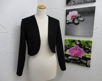 Long vest-Bolero in Black wool with long sleeves