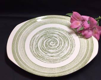 El Verde by Max Schonfeld Handled Cake Plate Platter
