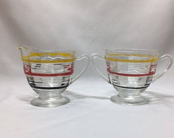 Anchor Hocking Banded Ring Creamer and Sugar Bowl Set colored stripe