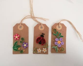 3 handmade origami quilled gift tags