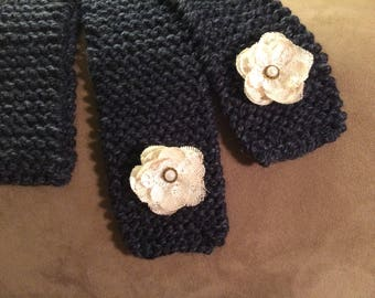 Hand Knitted Wool Scarf with Cream Flowers