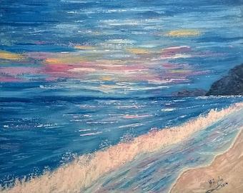 Acrylic Painting Dusk by the sea