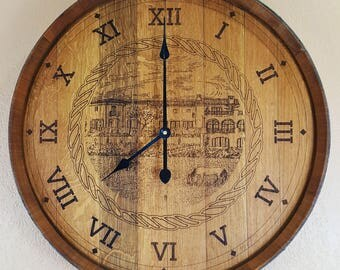 Wine Barrel Top Clock W/ Old Winery Engraving Rustic Furniture Home Decor