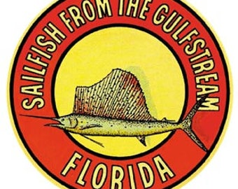 Vintage Style   Florida 1950's  Offshore Fishing Sailfish Gulfstream Travel Decal sticker