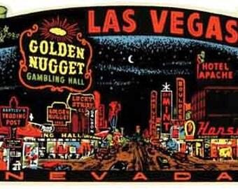 Vintage Style Las Vegas at night Nevada     1950's   Travel Decal sticker