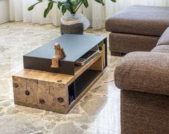 Coffee table in wood and iron-Mod. Caesar