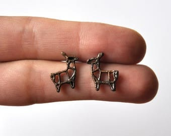 Stud Earrings / studs for pierced ears forest deer